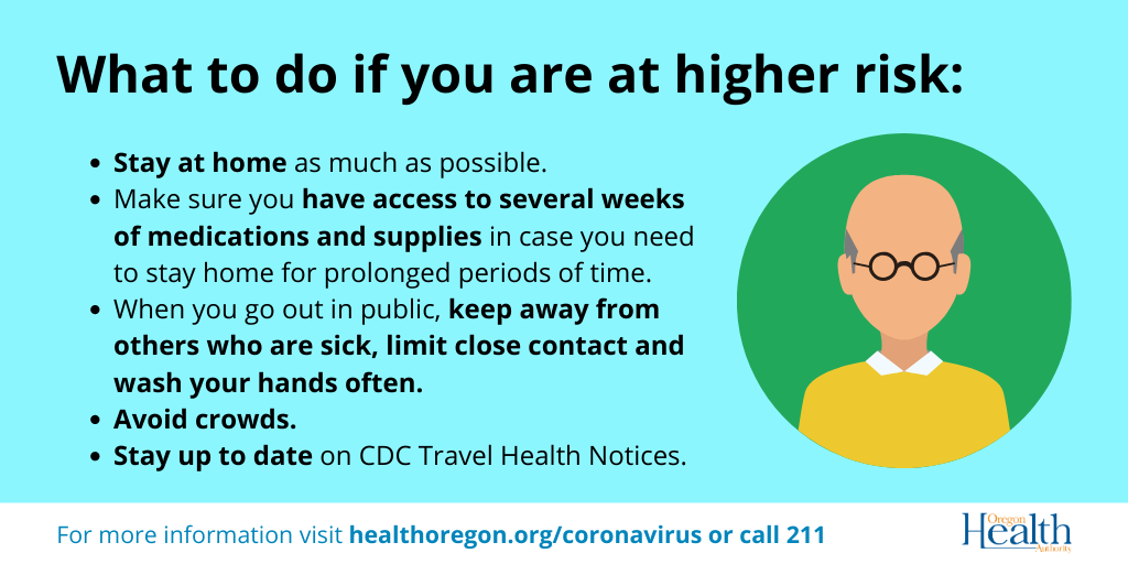 What to do if you are at higher risk: Stay at home, Avoid Crowds, Stay up to date on travel notices, have access to several weeks of medications and supplies.