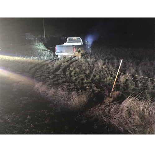 Elude Suspect Crashes Stolen Pickup (Photo)