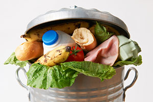 food in trashcan
